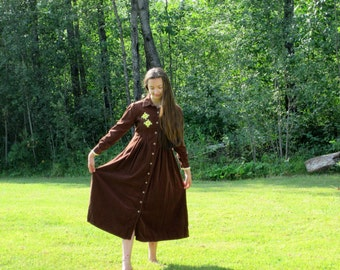 Vintage Corduroy Dress / Brown Corduroy Dress / Embroidered / Doilies / Upcycled / Prairie Dress / Hippie / Boho / Size Small to Medium