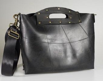Tote / Laptop Designer Bag - Ethical, Upcycled, black rubber, inner tube hand bag - Waterproof Eco Fashion.