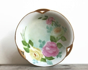 Bowl, Antique Porcelain Hand Painted Bowl Pink Yellow Roses Limoge Style Signed Linda