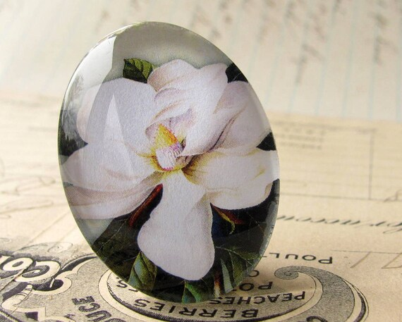 White Magnolia Blossom, 40x30mm handmade glass oval cabochon, 40x30 30x40 30x40mm 40 30 mm, Southern garden flower