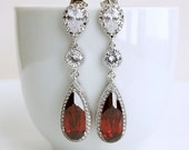 Teardrop Dark Garnet Red Cubic Zirconia Earrings Red Wedding Jewelry Dark Red Bridal Earrings Long Wedding Earrings Silver
