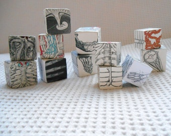 BODY Original Collage Art  Blocks Instant Collection of 12