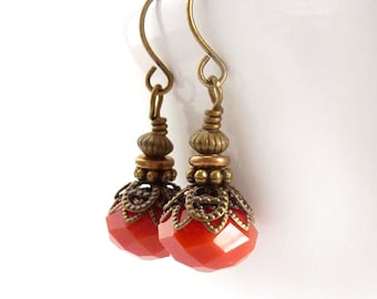 Orange Boho Earrings - Antiqued Bronze Vintage Style Drops - Tangerine - Yoga Earrings
