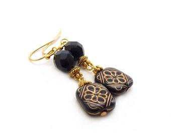 Black & Gold Earrings - Etched Square Beads - Victorian Style Drop Earrings - Black Dangle Earrings