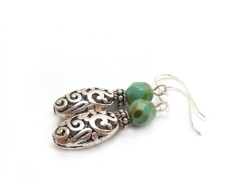 Silver Filigree Earrings - Turquoise Picasso Czech Glass - Pewter Filigree - Bohemian Earrings
