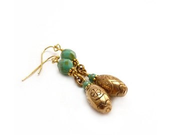 Antique Gold Earrings - Long Wire-Wrapped Dangles - Vintage Etched Metal Beads - Boho Earrings
