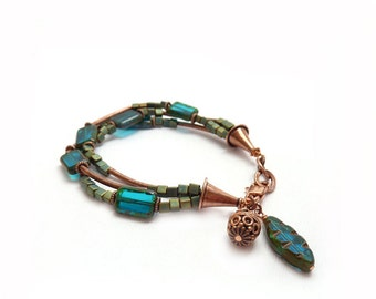 Blue Boho Bracelet - Multistrand - Teal Picasso Glass Beads - Copper Tubes - Seed Beads - Mixed Metals Bohemian Charm Bracelet