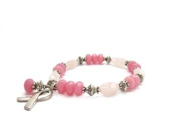 Pink Breast Cancer Bracelet - Rose Quartz - Jade - Survivor - Silver Hope Ribbon - Awareness Stacking Bracelet - Charity Donation