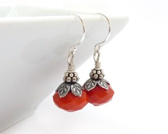 Orange Red Earrings - Antiqued Silver Vintage Inspired - Short Petite Colorful Dangles - RockStoneTreasures