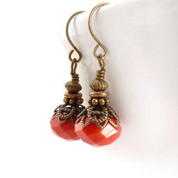 Orange Boho Earrings - Antiqued Bronze Vintage Style Drops - Tangerine - Yoga Earrings