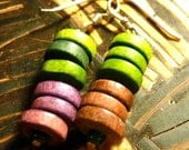 Purple and Lime Green Wooden bead earrings.