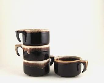vintage pfaltzgraff - pfaltzgraff mugs - gourmet brown glaze - stoneware mugs - vintage stoneware - dripware