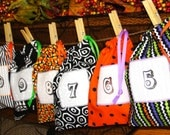 Halloween Countdown Treat Bags - 11 Drawstring Mini Bags Set - One of a Kind, Hand Stamped, READY TO SHIP