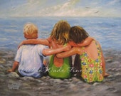 Three Beach Children Hugging Art Print from original oil painting two sisters blond boy brother on beach beach kids art