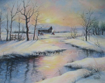 Peaceful Winter Oil Painting, 16X20 snowy cabin winter landscape, sun winter, art, river creek snow canvas painting, Vickie Wade paintings