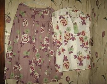 Mod 1960       new    w tags  2 piece drop   waistline tie skirt matching blouse..sz 10 Beeline Fashions