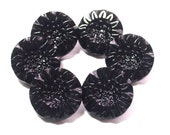 6 Beautiful Vintage Black GlassSunFlower Buttons 17mm Set Embellishments Sewing Buttons