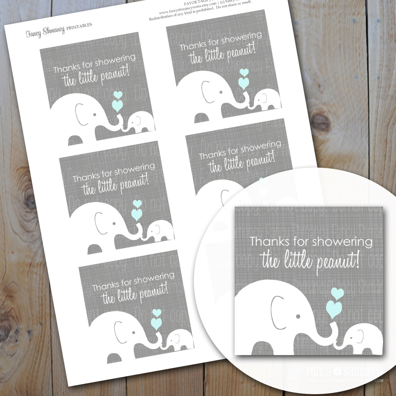 elephant baby shower favor tags blue and grey little peanut