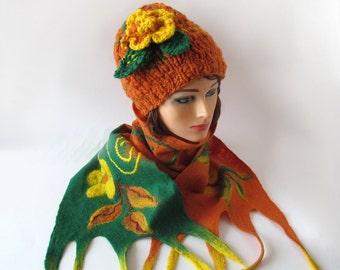 Slouchy Knitted hat and scarf collar, Winter  set, Orange green lemon pumpkin,  halloween, Wool Hat and scarf,  Handspun Yarn