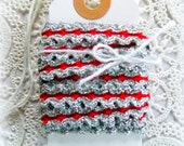 SALE  / Red & Silver Sparkle Braided Trim