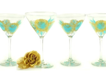 Bachelorette Party Glasses - Hand-Painted Martini Glasses with Aqua and Gold Roses, Set of 8 - Beach Wedding Bridesmaid Margarita Glasses