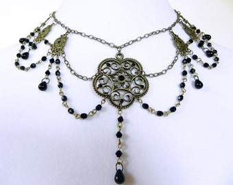 Choker Neo Victorian Metals Mourning Glory in Brass and Black Crystals