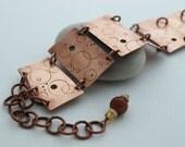 Linked circle texture design copper bracelet
