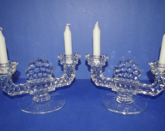 Fostoria Glass Candle Holders, 2 lbs. each, One pair,  Vintage 1960's 1970's