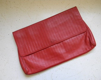 vintage. 80s X Large Red Leather Clutch  // Striped Embossed Leather Bag