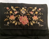 Vintage 1940's WWII Embroidered Faille Clutch Bag Purse