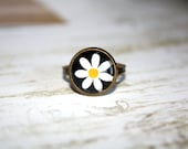 Daisy Adjustable  Ring, Holiday Jewelry, Gift