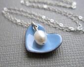 Periwinkle Blue Heart Necklace White Pearl Sterling Silver Enamel