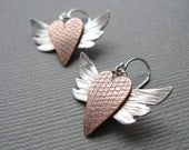 Winged Heart Copper Sterling Silver Earrings