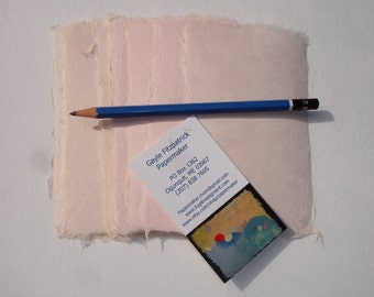 Ten sheets of peach 3 x 5 inch abaca kozo paper