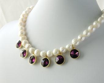 Swarovski Rivoli FWP Necklace, Statement Necklace, Rivoli and Pearls Necklace, Fresh Water Pearls Necklace