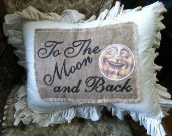 Pillow Slip Cover Pillow Sham  Burlap Muslin Pillow Sham  w/ to the MOON and back design