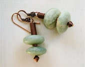 African Jade Earrings with Copper Soft Creamy Green Stone Buttons on Antiqued Copper French Hooks - CatchingWaves