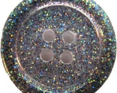 Set of 6 Handmade Resin Buttons - Sparkly Rainbow Gray 1.25""