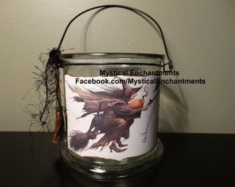 Halloween Witch Lantern Witch, Black Cat & Raven Vintage style