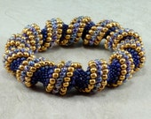 Purple and Gold Cellini Spiral Bracelet, Bangle Bracelet