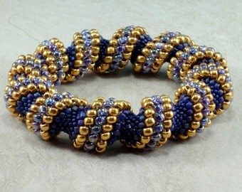 Purple and Gold Cellini Spiral Bracelet, Bangle Bracelet