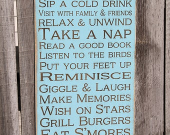 Deck Rules Sign Vintage Style laser engraved custom personalized Rules Typography Word Art Sign