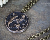 "Royal Lion Amulet - Handmade Solid Bronze Pendant on 25"" Chain - Unisex"