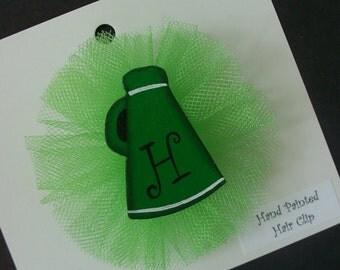 Megaphone Hair Clip, Cheerleader Hair Bow, Personalized Sports Hair Clip, Name, Cheer Bow, Initial Clip
