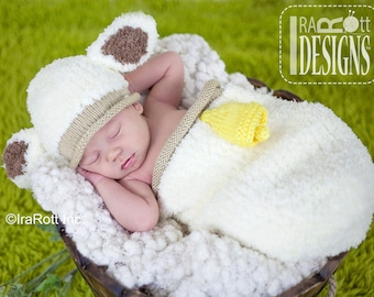 KNIT PATTERN Baa-Baa Baby Lamb Hat and Cocoon Set PDF Pattern with Instant Download