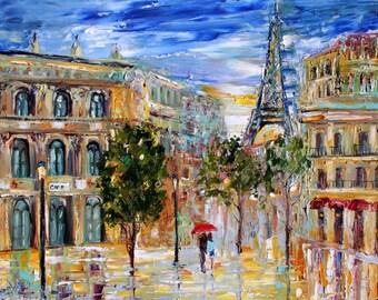 Paris Fine Art Print on canvas 24x30 made from image oil painting by Karen Tarlton - Paris Twilight modern impressionism fine art