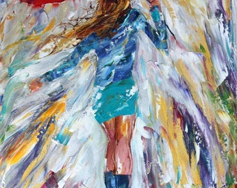 Fine art print Rain Dance in Blue - made from image of oil painting by Karen Tarlton - impressionistic palette knife modern art