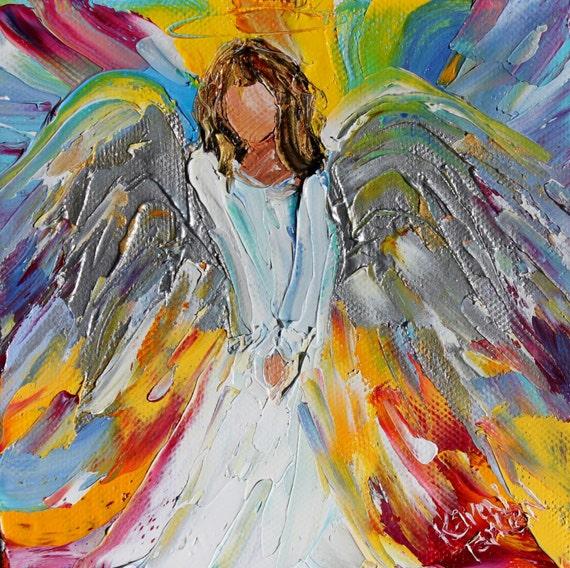 Original Oil Painting Little Angel Palette Knife Impasto