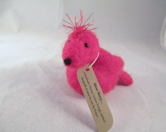 Needle Felted Bird - Wool Felt Redbird - Fiber Animal Sculpture