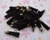 20pcs black colors Suede Leather Tassels charms pendant, Ideal Accessories for DIY projects, Suede leather tassel